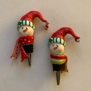 GANZ Snowmen 2 Wine Stoppers Christmas New